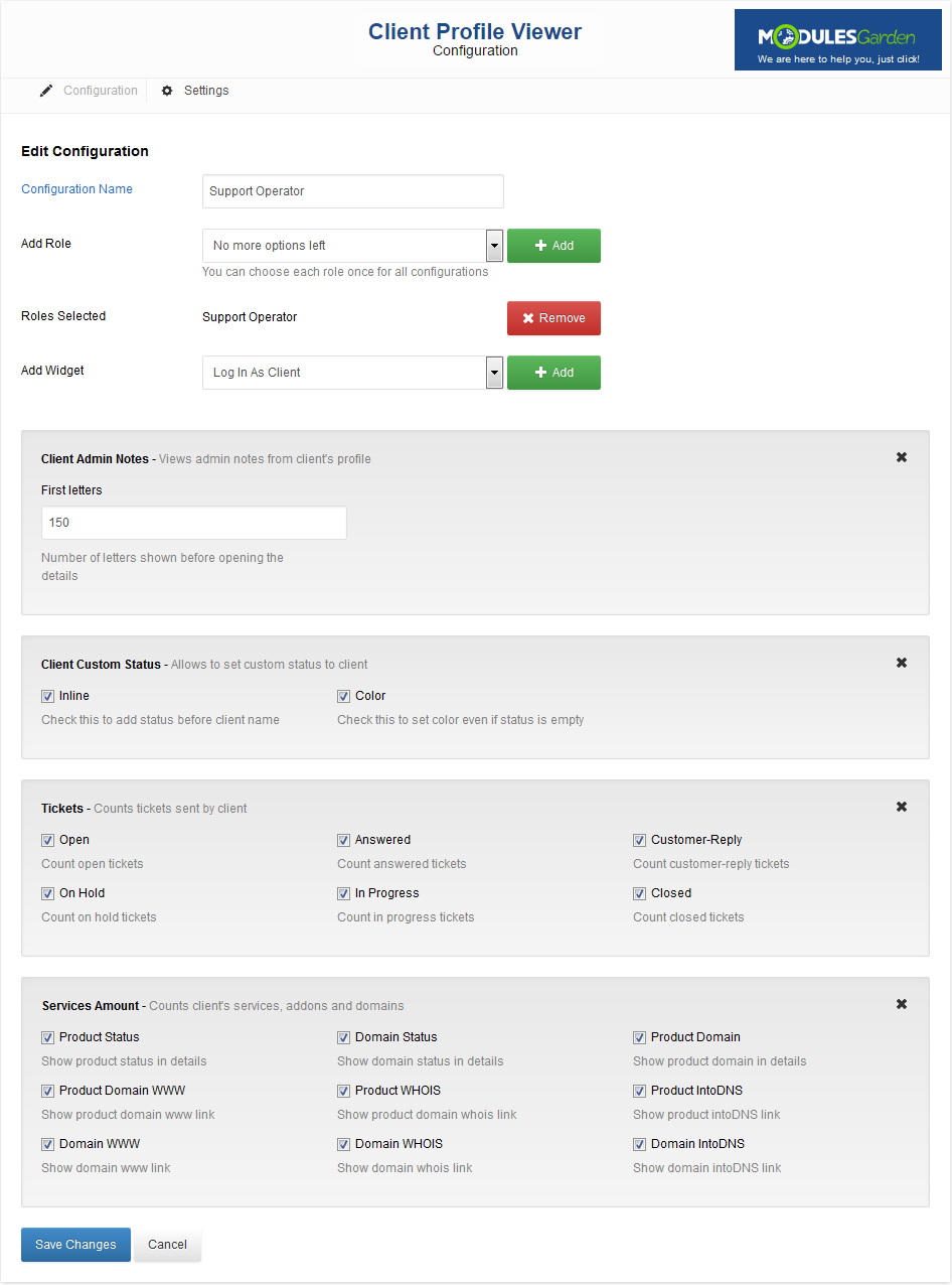 Client Profile Viewer For WHMCS: Screen 6