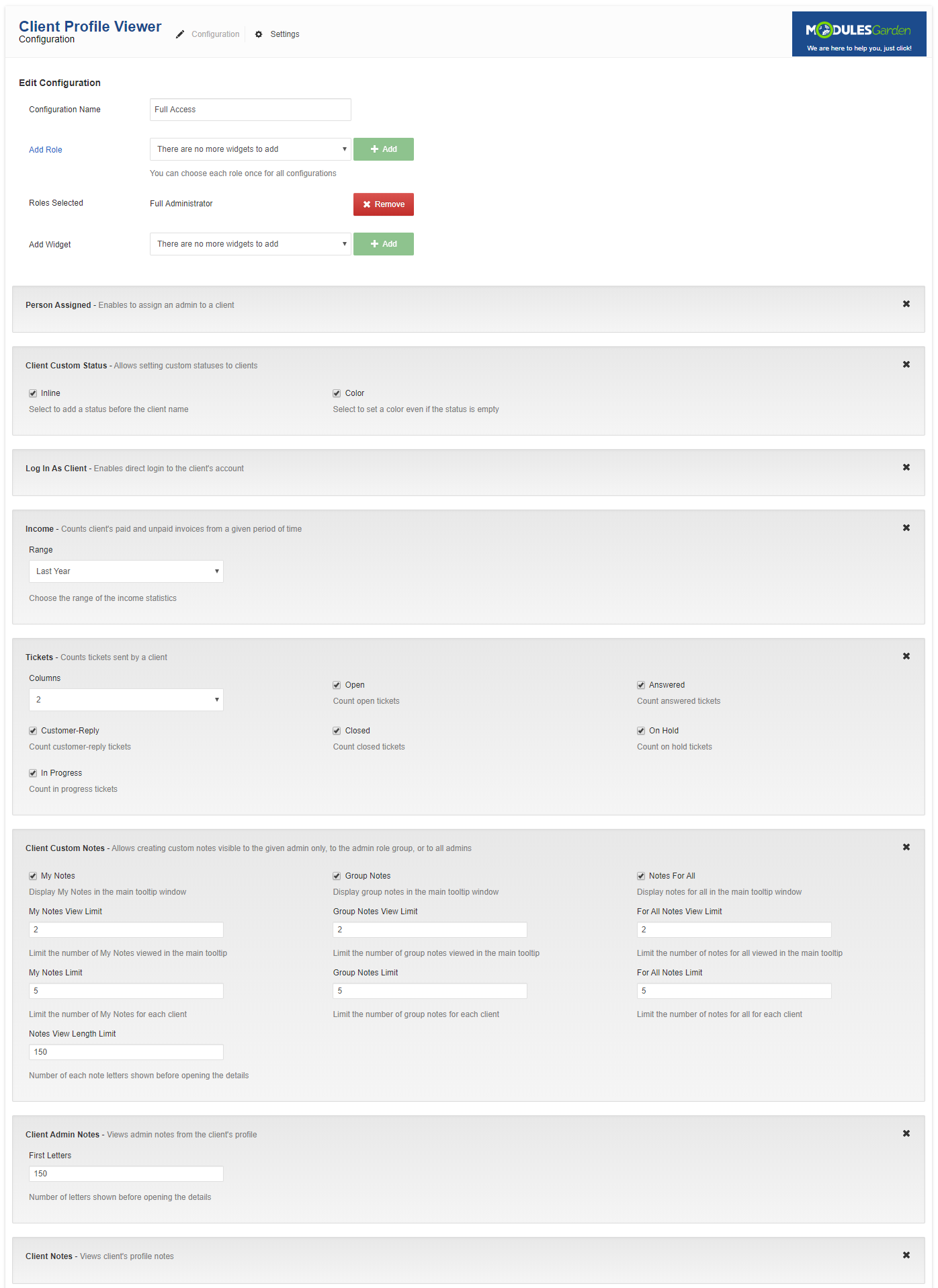 Client Profile Viewer For WHMCS: Module Screenshot 8