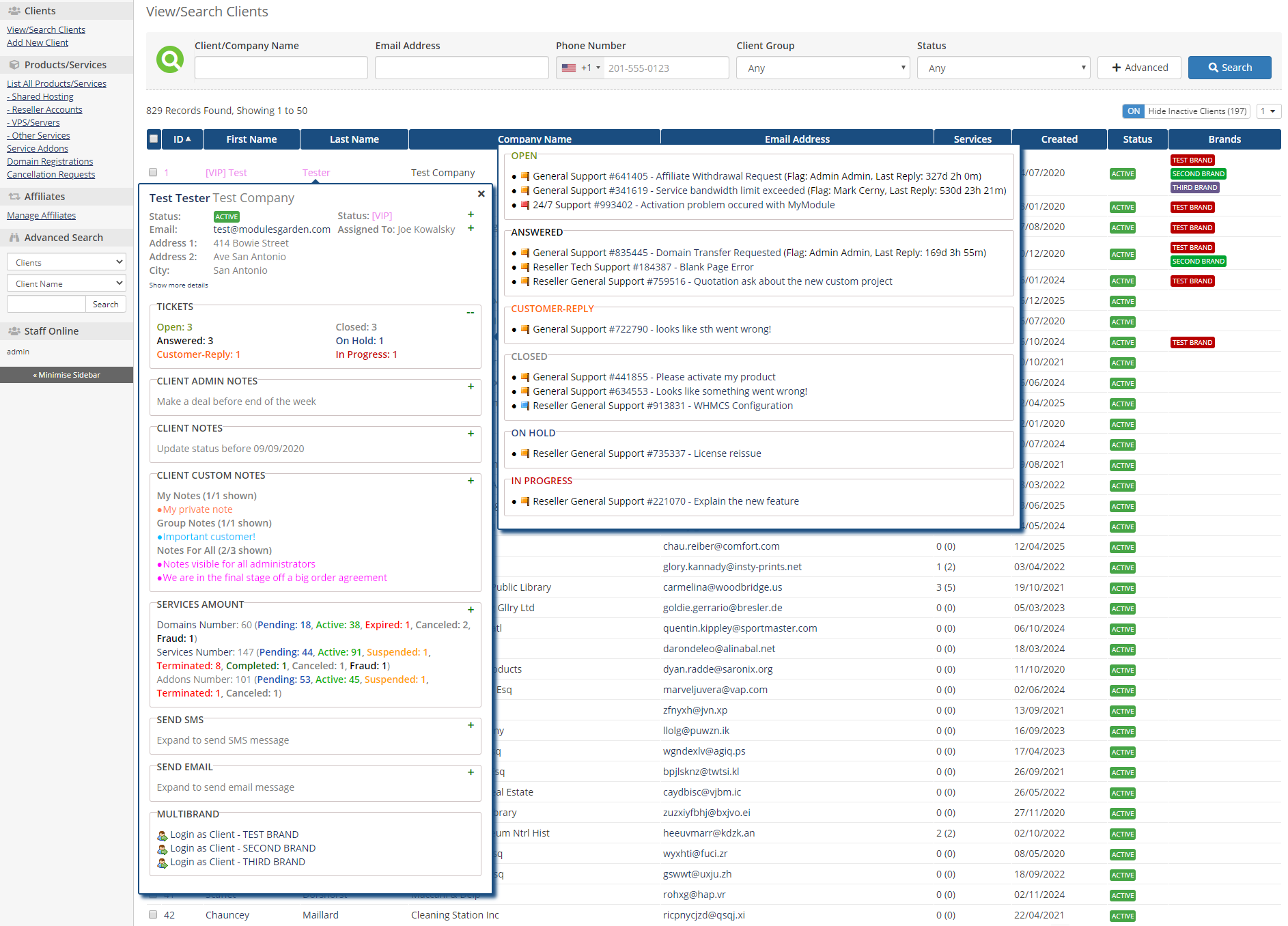 Client Profile Viewer For WHMCS: Module Screenshot 1
