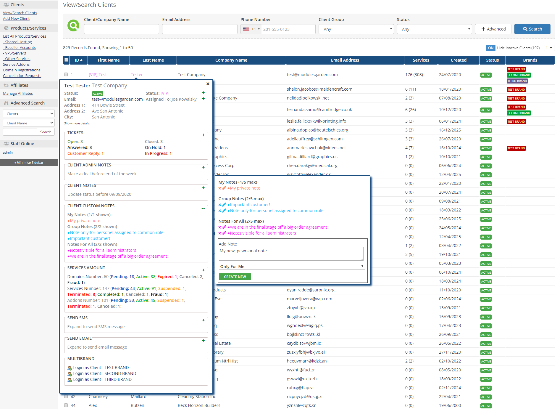 Client Profile Viewer For WHMCS: Module Screenshot 2