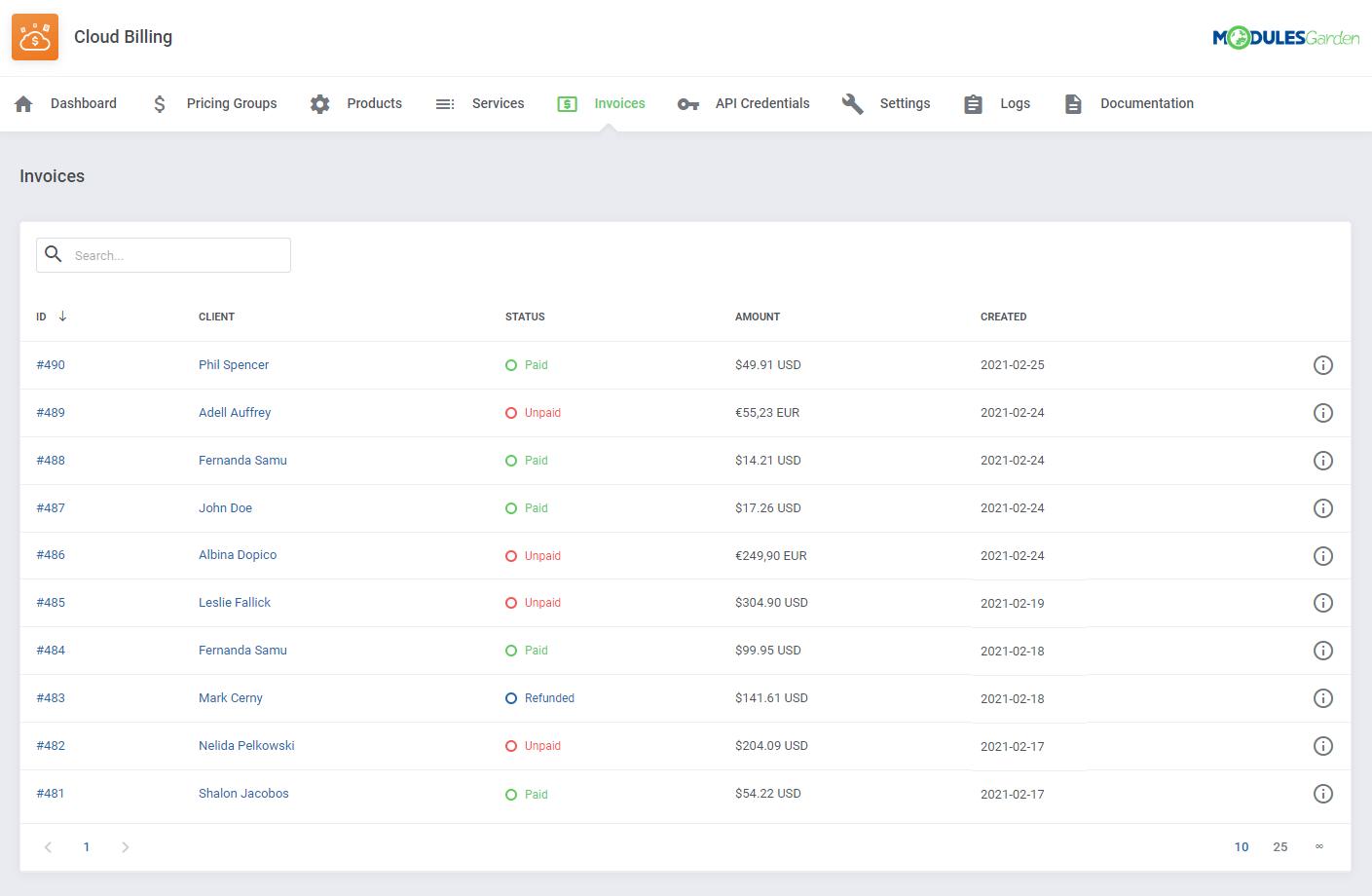 Cloud Billing For WHMCS: Module Screenshot 11