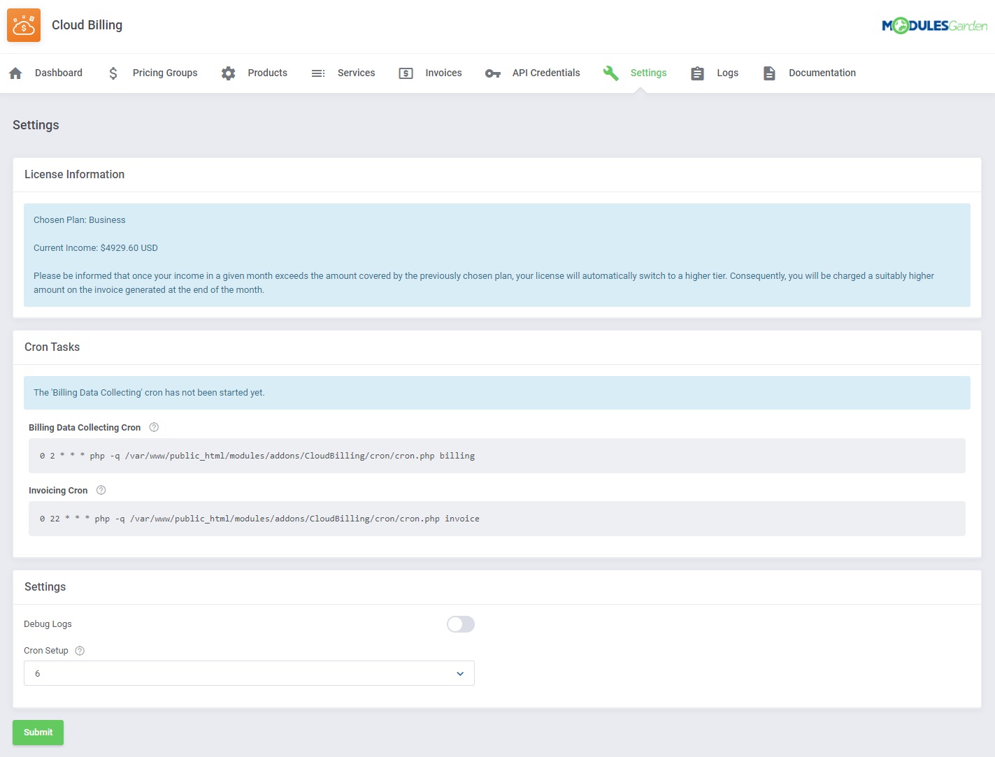 Cloud Billing For WHMCS: Module Screenshot 14