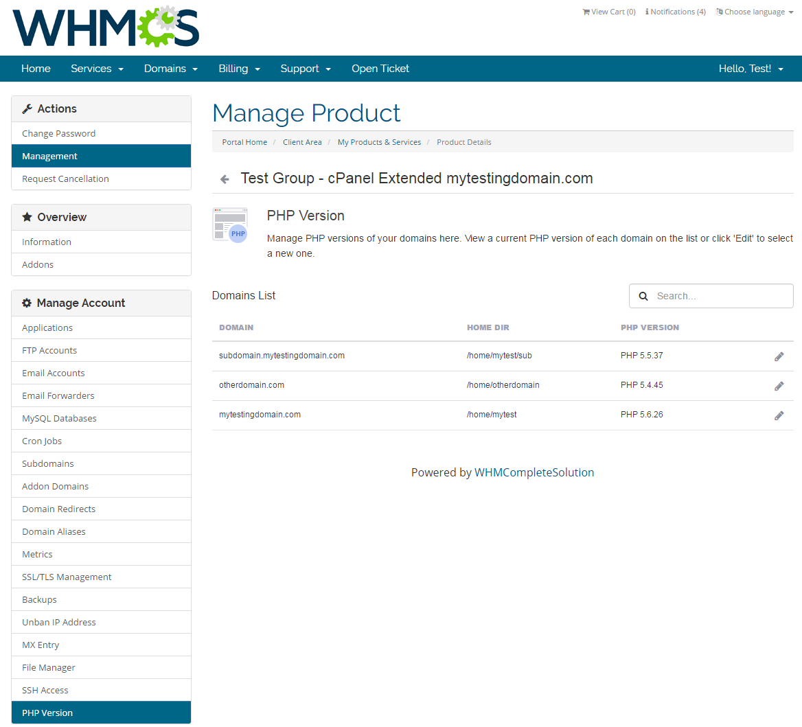 cPanel Extended For WHMCS: Screen 10
