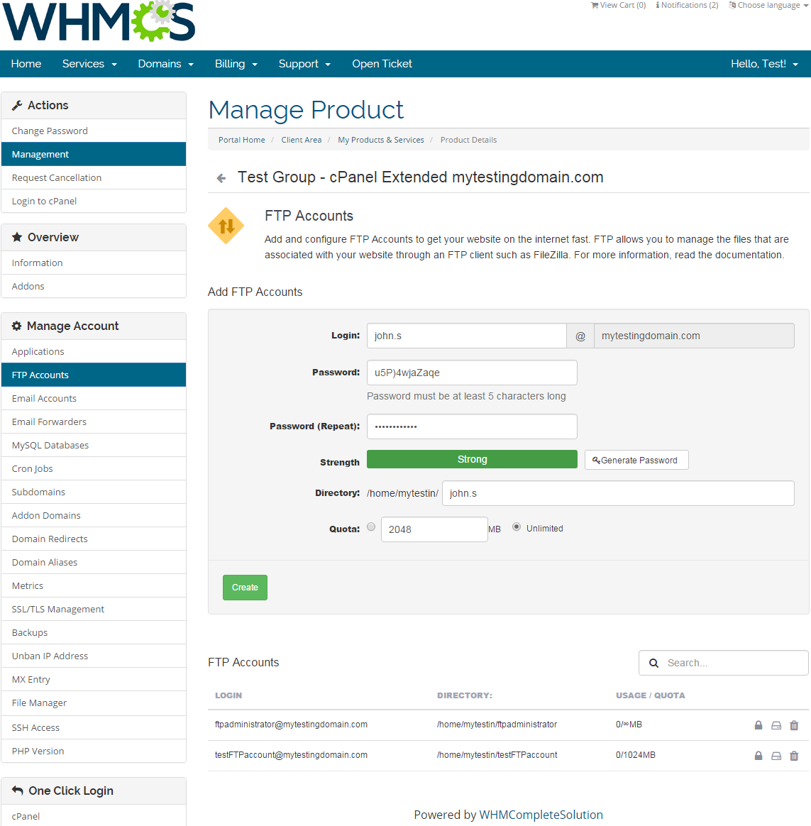 cPanel Extended For WHMCS: Screen 2