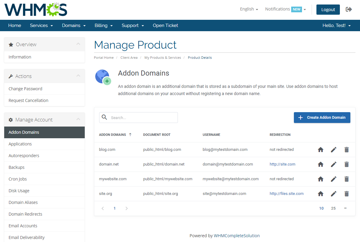 cPanel Extended For WHMCS: Module Screenshot 3