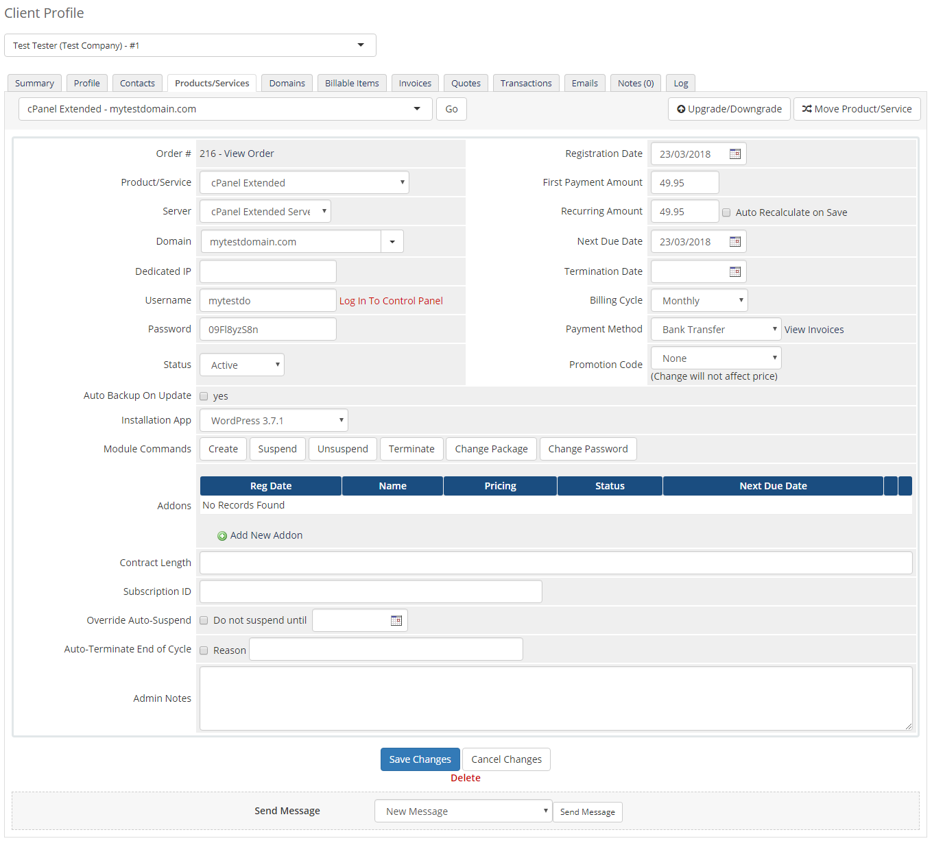 cPanel Extended For WHMCS: Module Screenshot 34