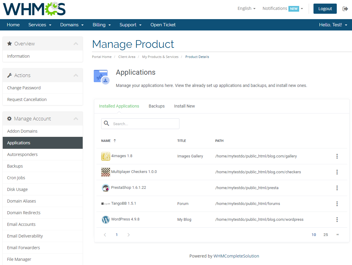 cPanel Extended For WHMCS: Module Screenshot 4