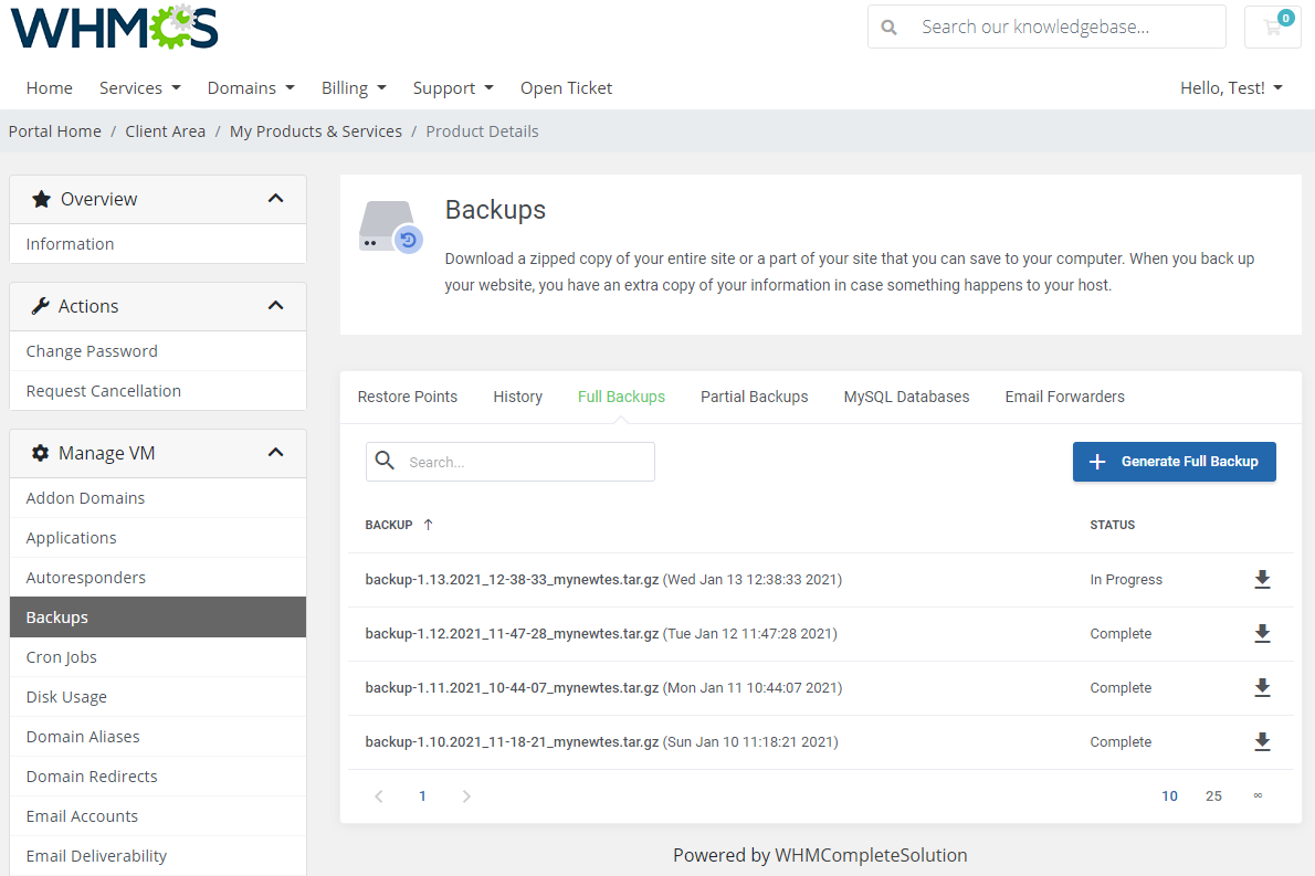 cPanel Extended For WHMCS: Module Screenshot 7