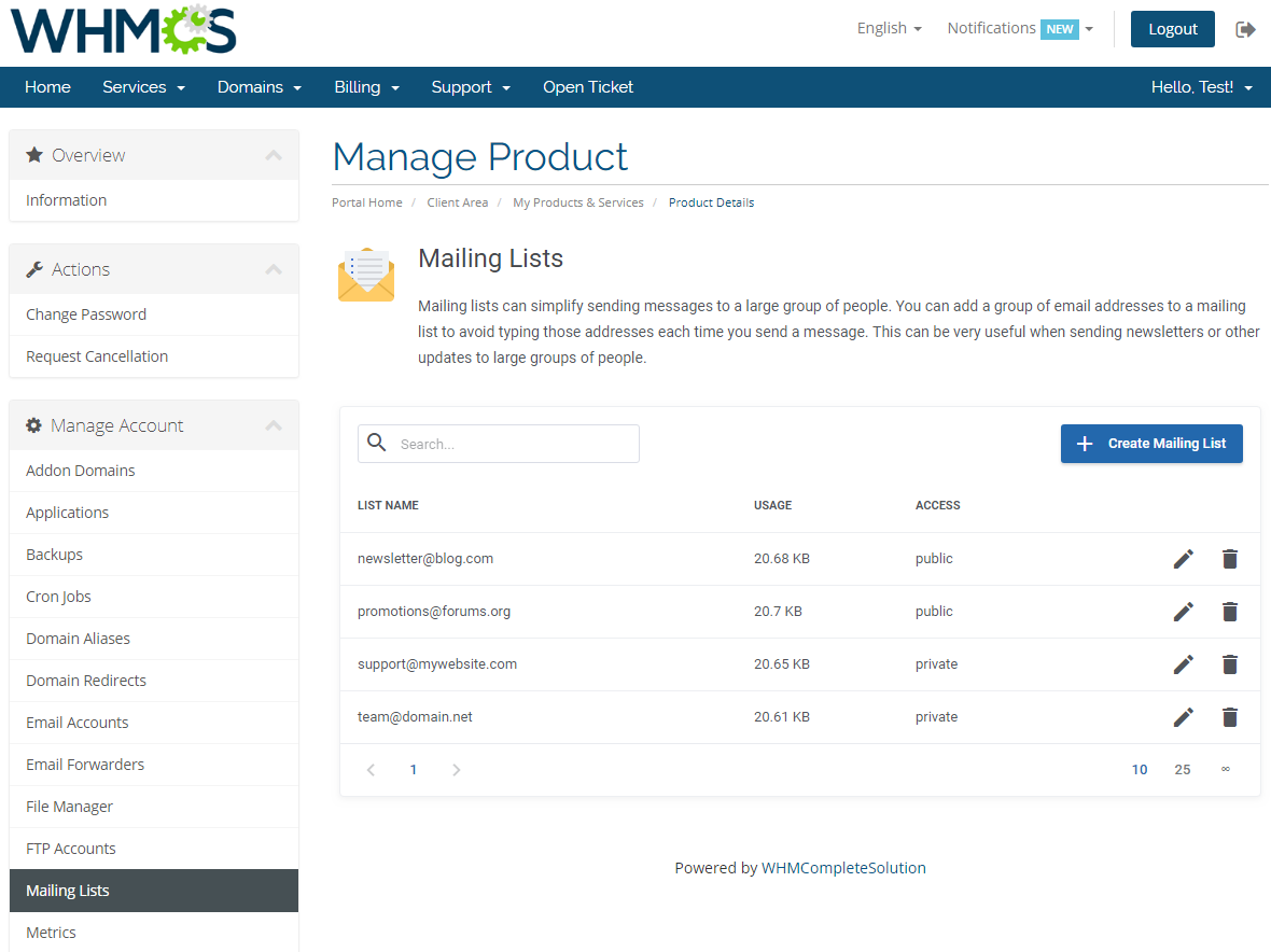 cPanel Extended For WHMCS: Screen 13