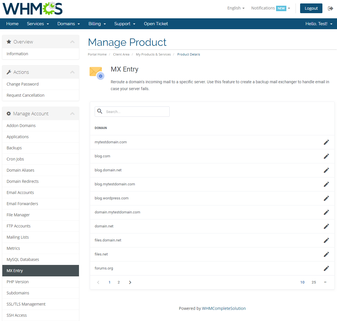 cPanel Extended For WHMCS: Screen 16