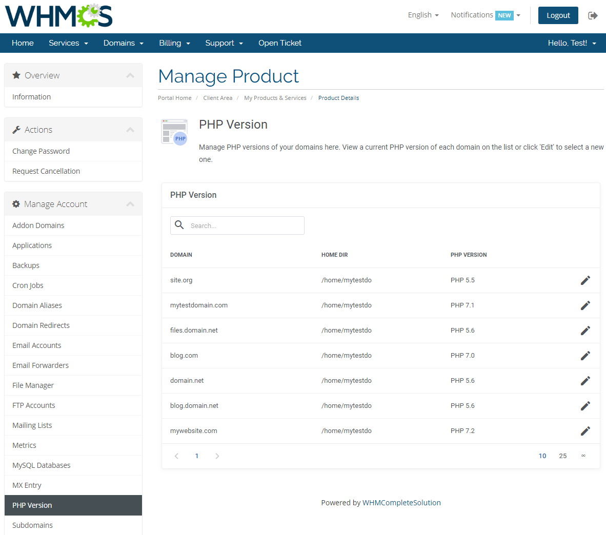 cPanel Extended For WHMCS: Screen 17