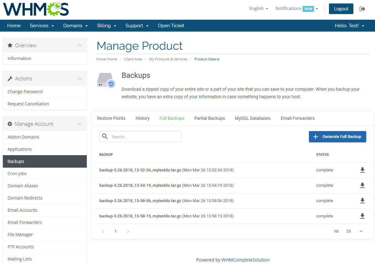 cPanel Extended For WHMCS: Screen 5