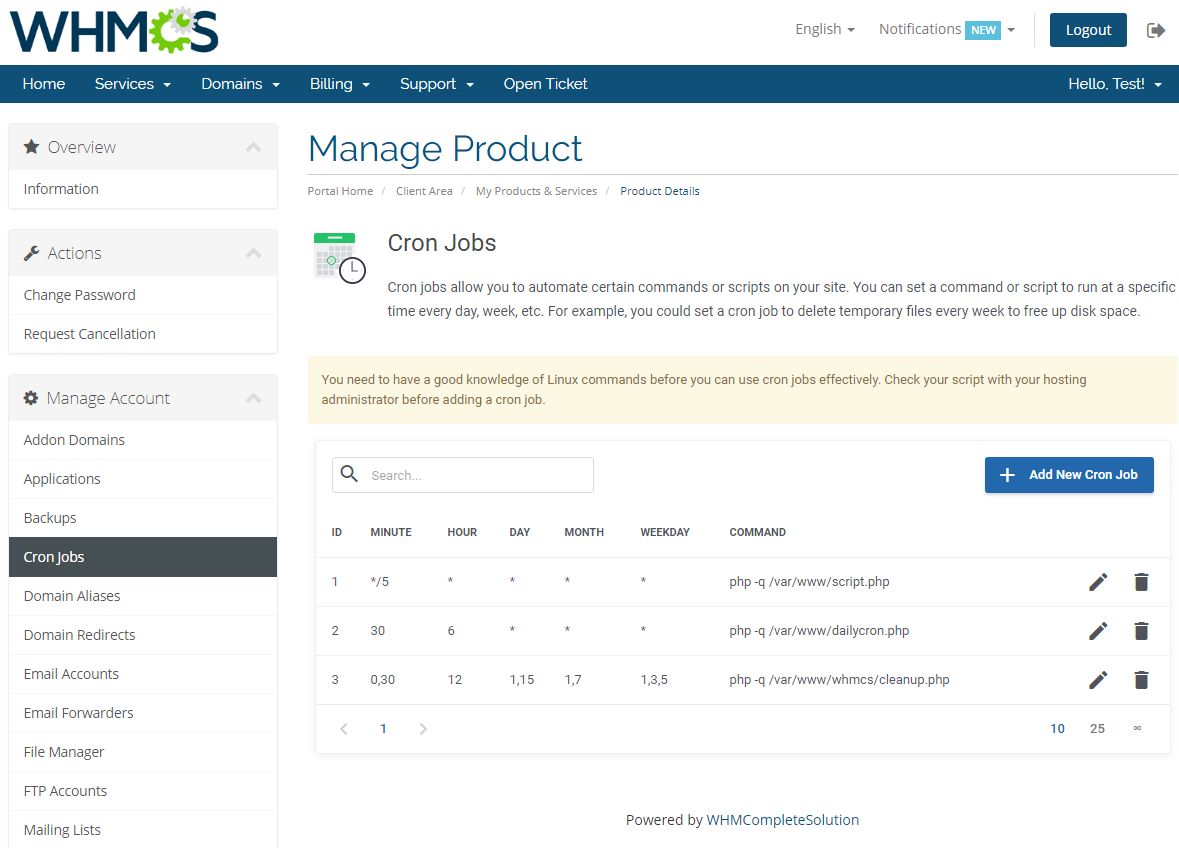 cPanel Extended For WHMCS: Screen 6