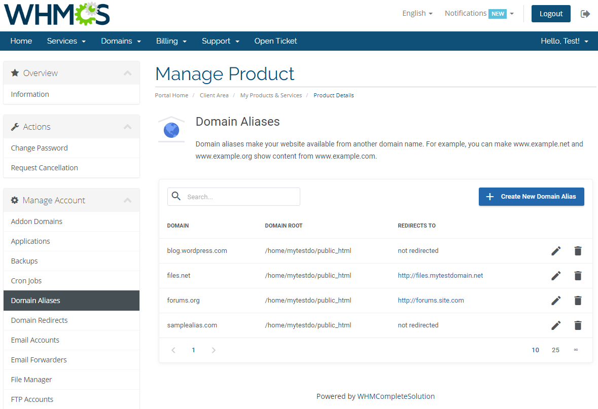cPanel Extended For WHMCS: Screen 7
