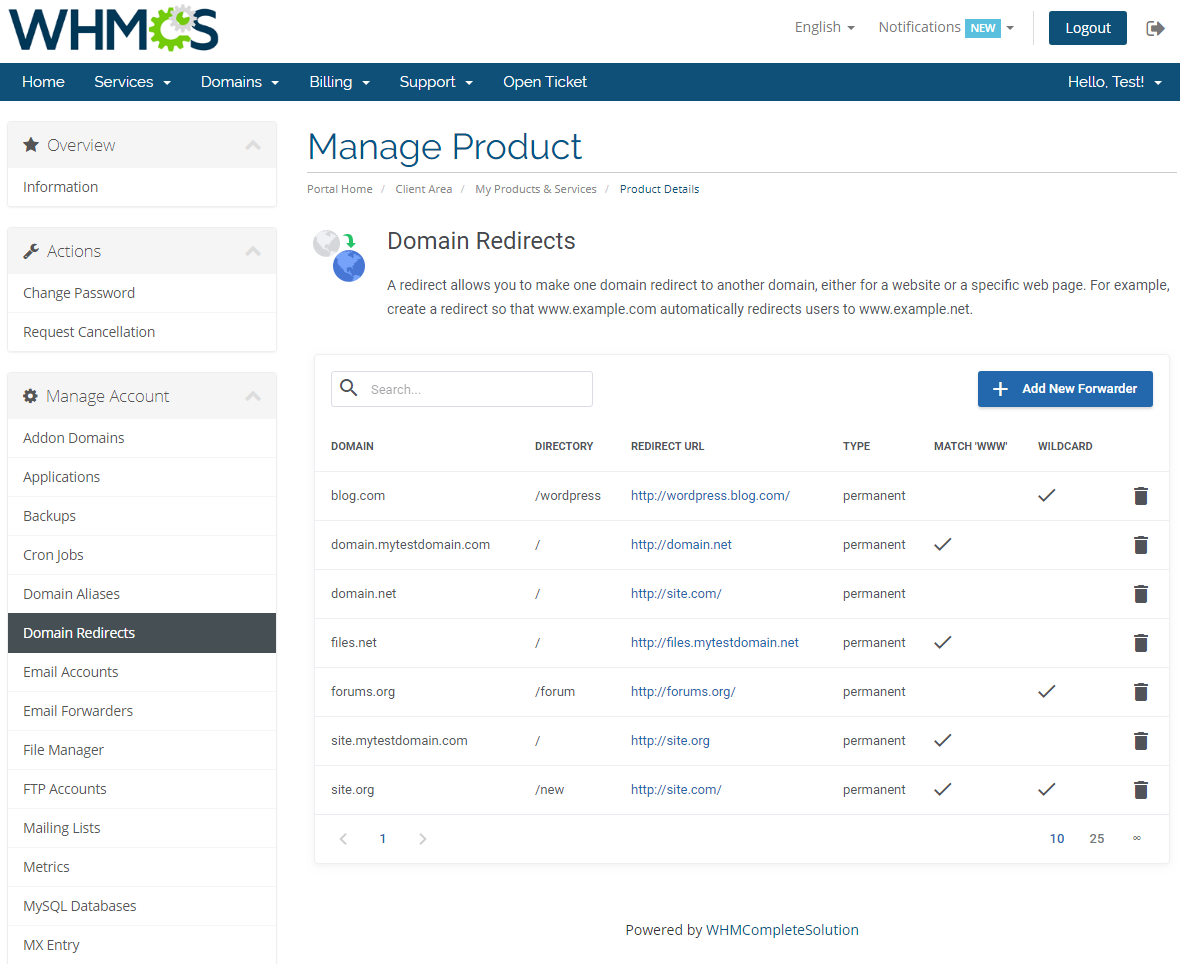 cPanel Extended For WHMCS: Screen 8