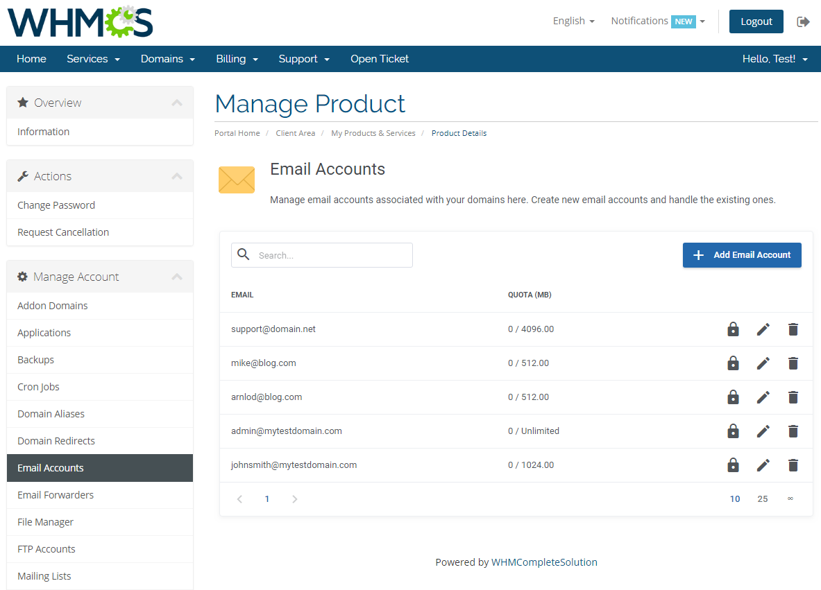 cPanel Extended For WHMCS: Screen 9
