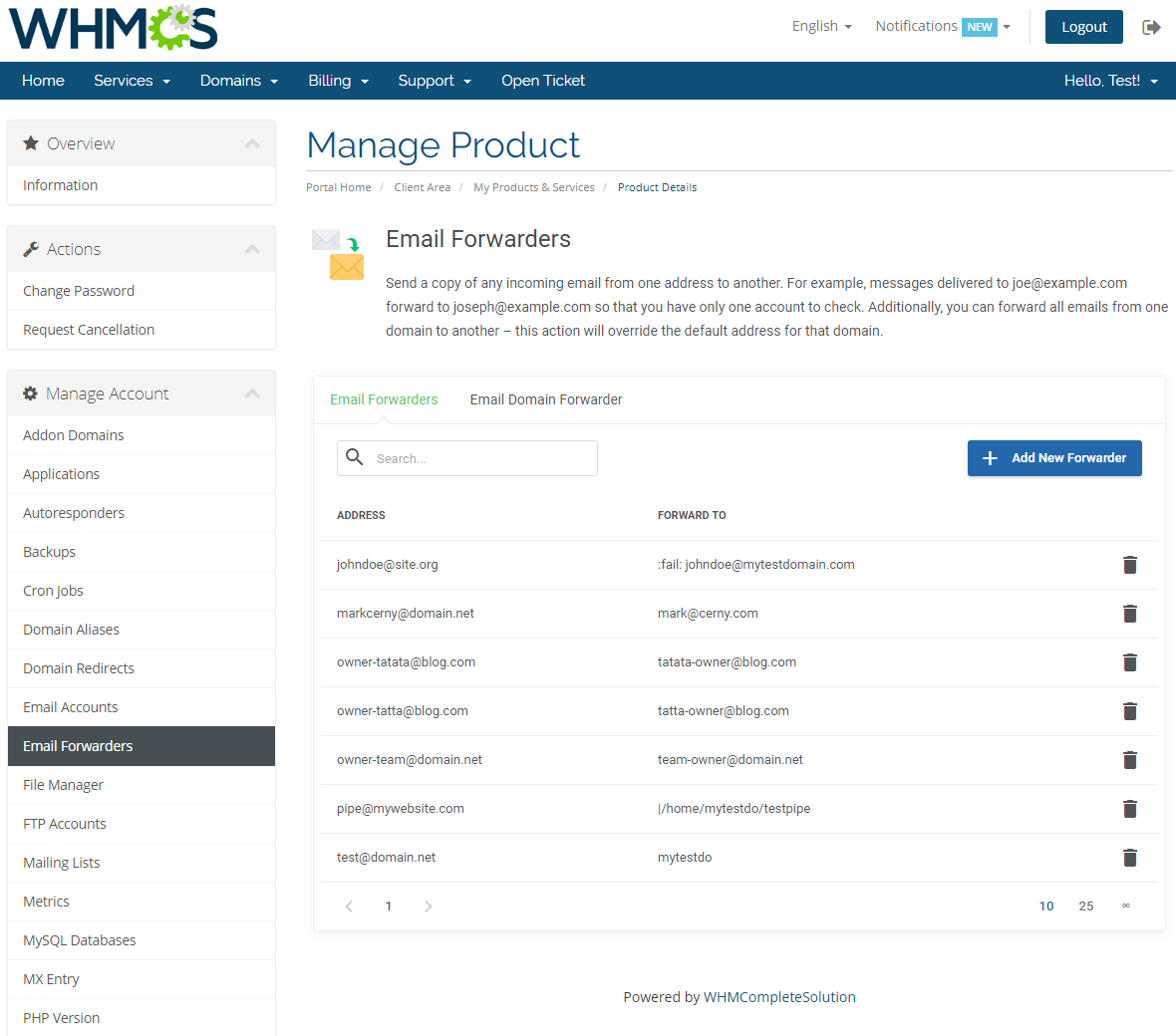cPanel Extended For WHMCS: Screen 12