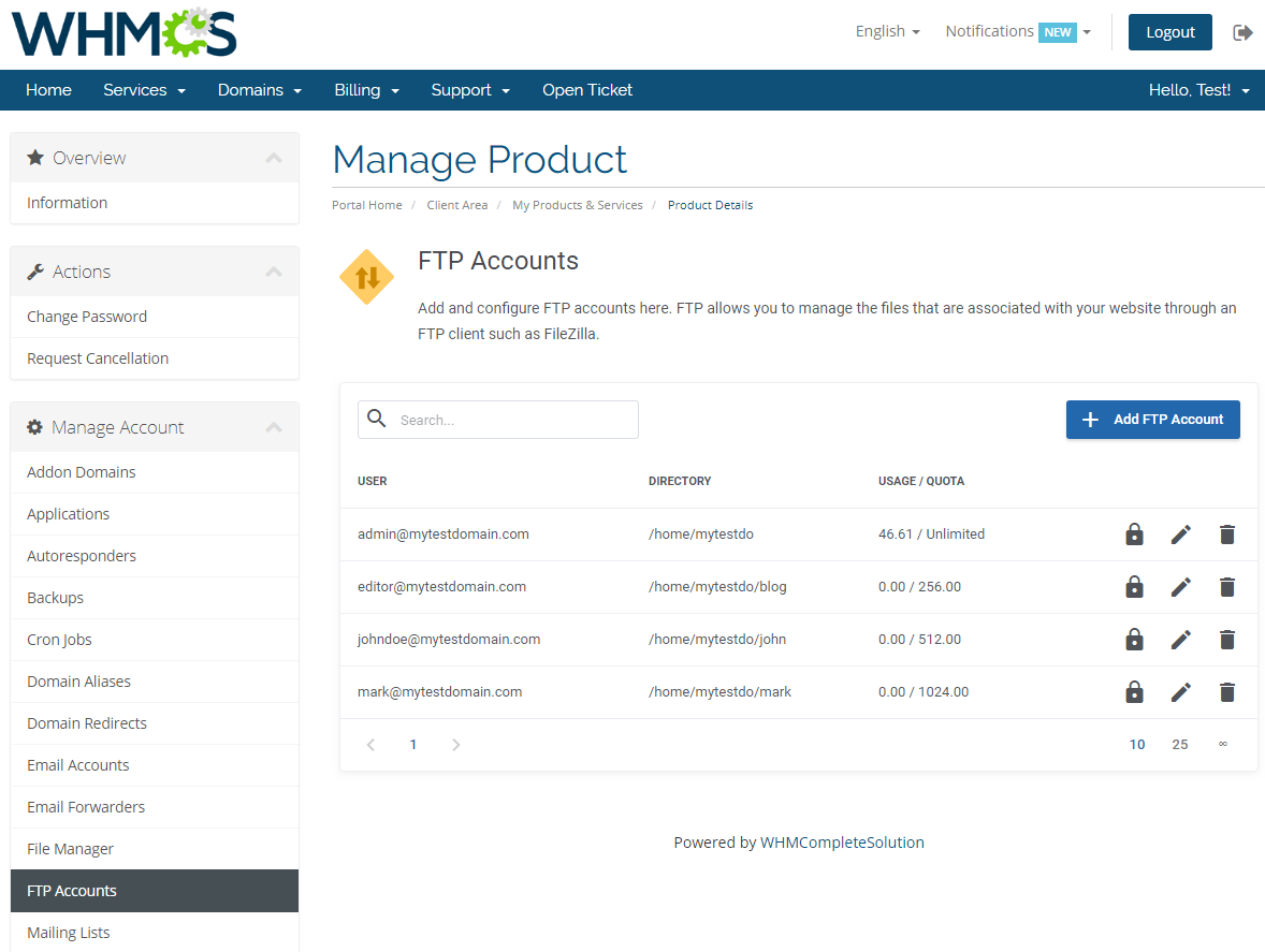 cPanel Extended For WHMCS: Screen 14