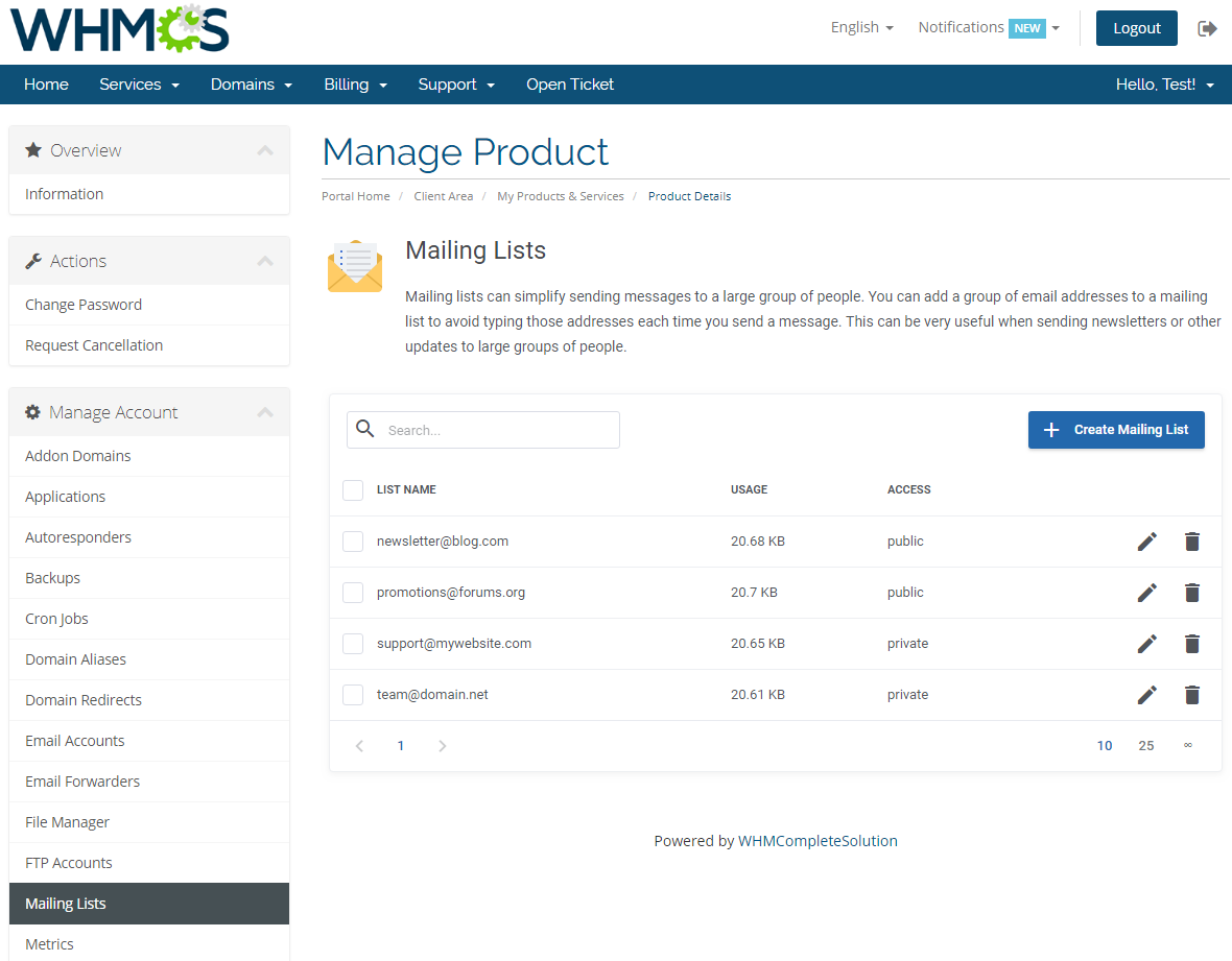 cPanel Extended For WHMCS: Screen 15