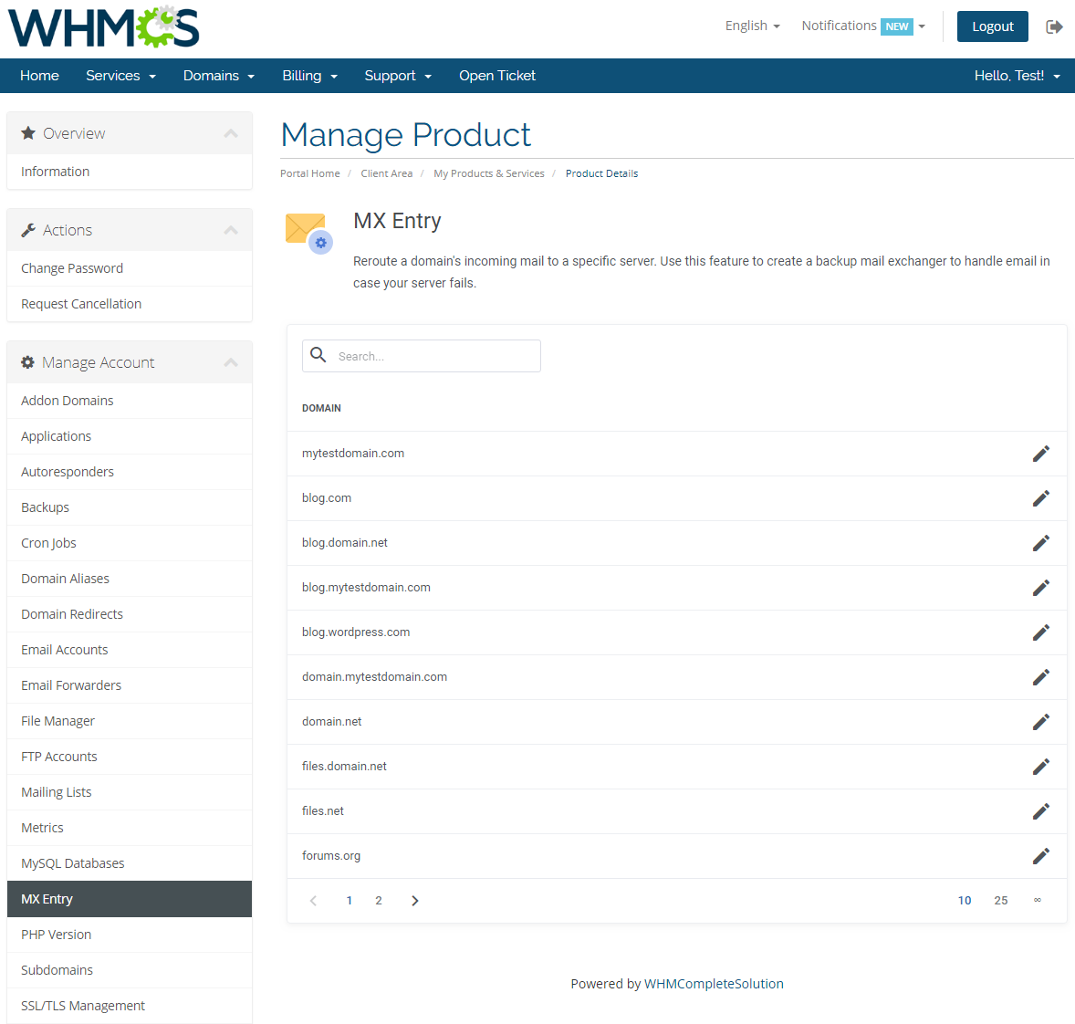 cPanel Extended For WHMCS: Screen 18