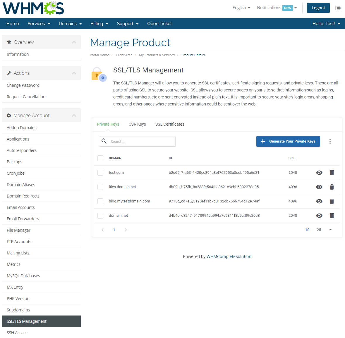 cPanel Extended For WHMCS: Screen 21