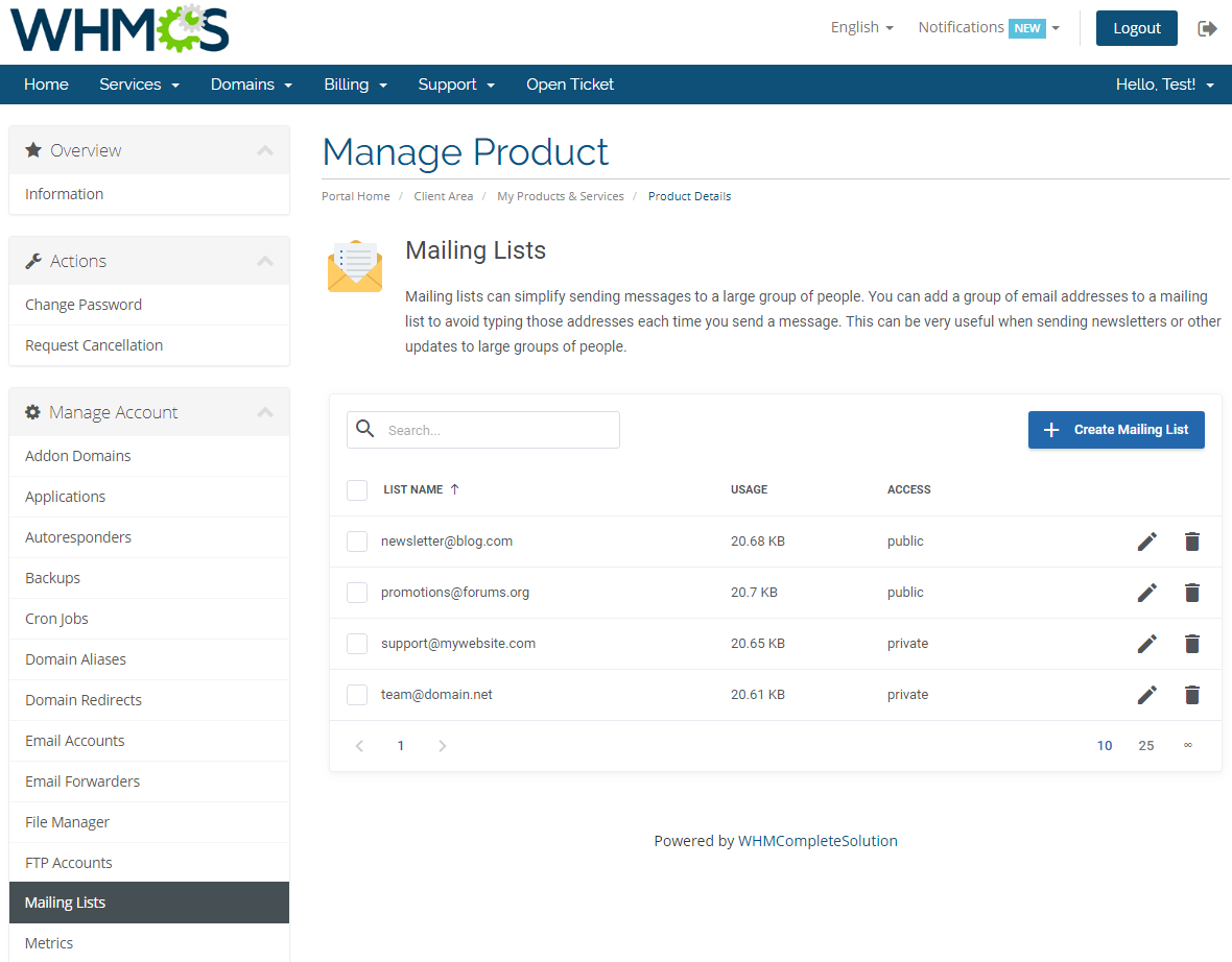 cPanel Extended For WHMCS: Module Screenshot 15