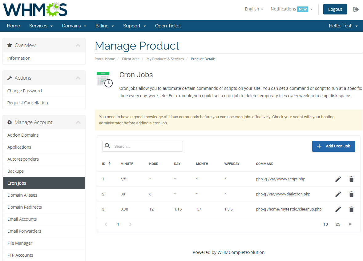 cPanel Extended For WHMCS: Module Screenshot 8