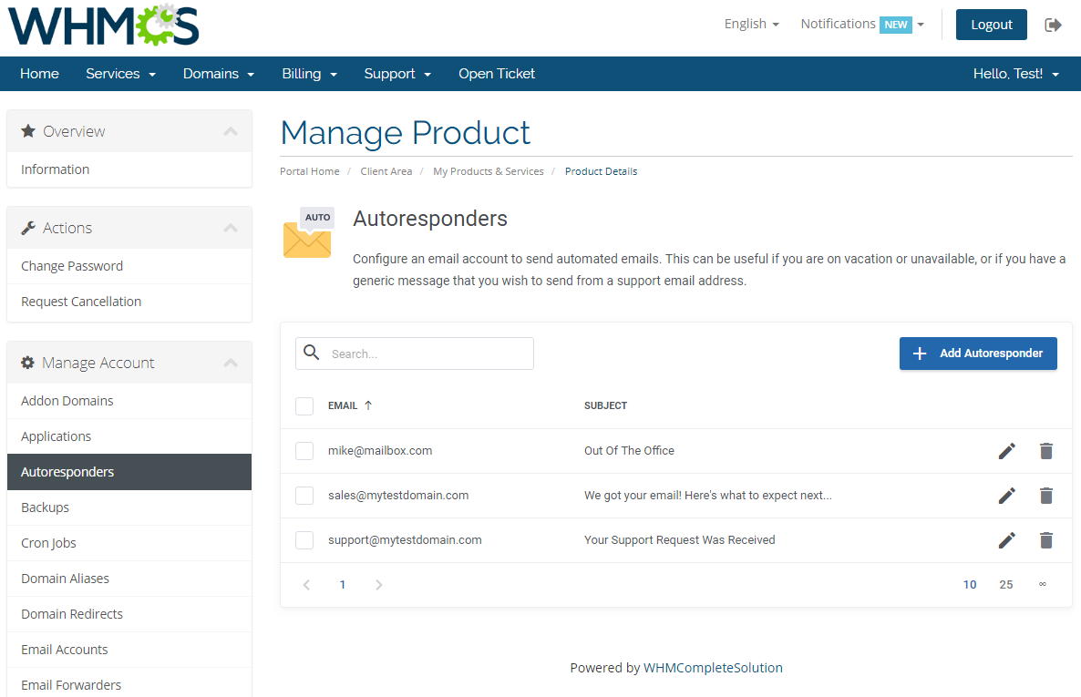 cPanel Extended For WHMCS: Module Screenshot 6