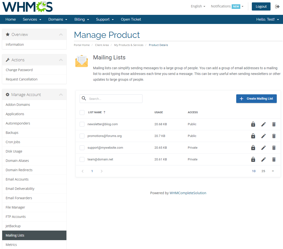 cPanel Extended For WHMCS: Module Screenshot 18