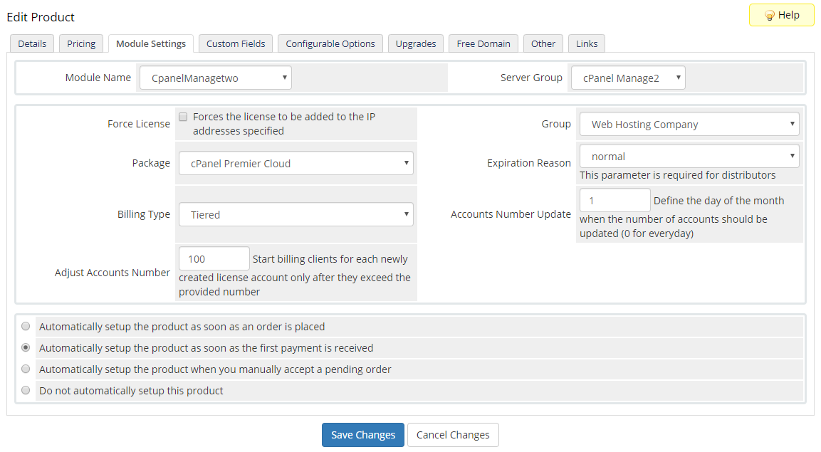 cPanel Manage2 For WHMCS: Module Screenshot 3