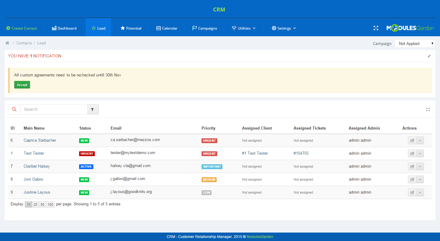 CRM For WHMCS: Screen 4