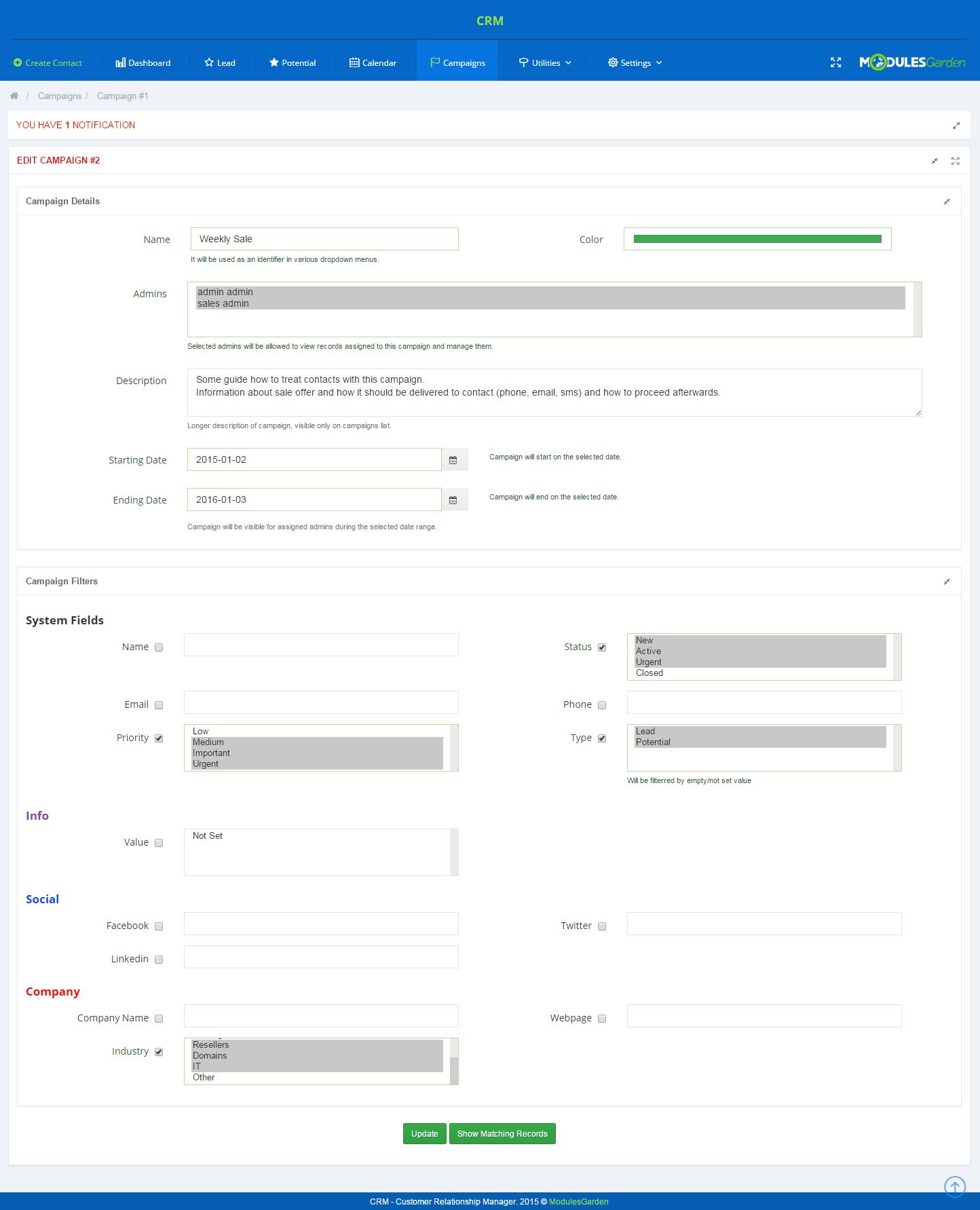 CRM For WHMCS: Screen 8