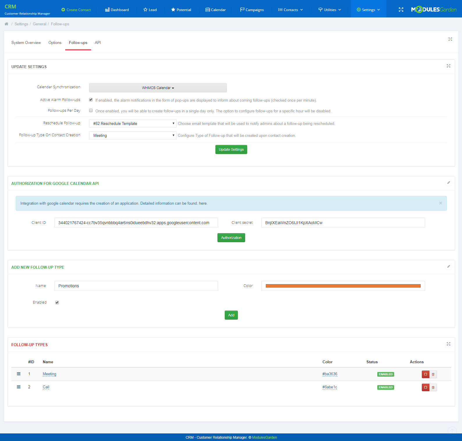 CRM For WHMCS: Screen 14