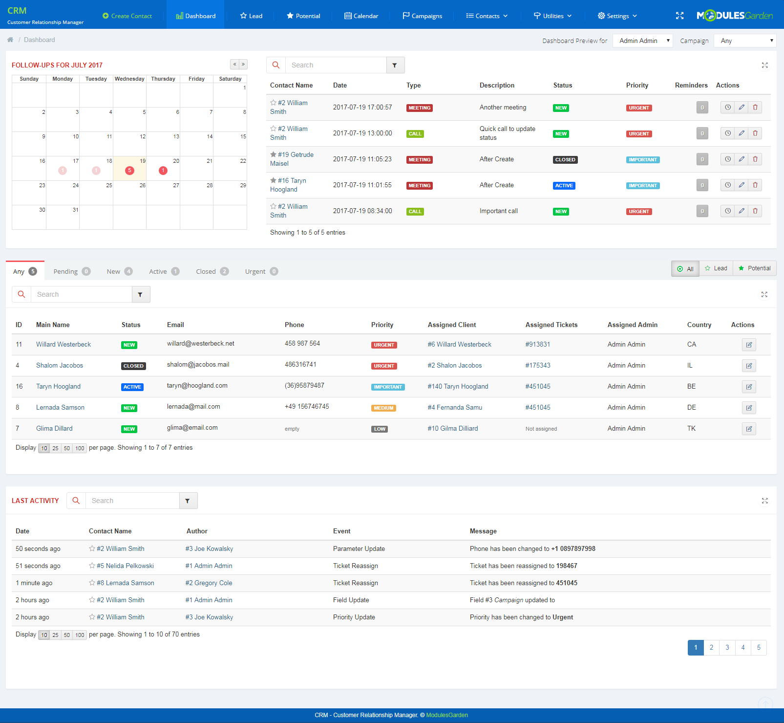 CRM For WHMCS: Screen 1