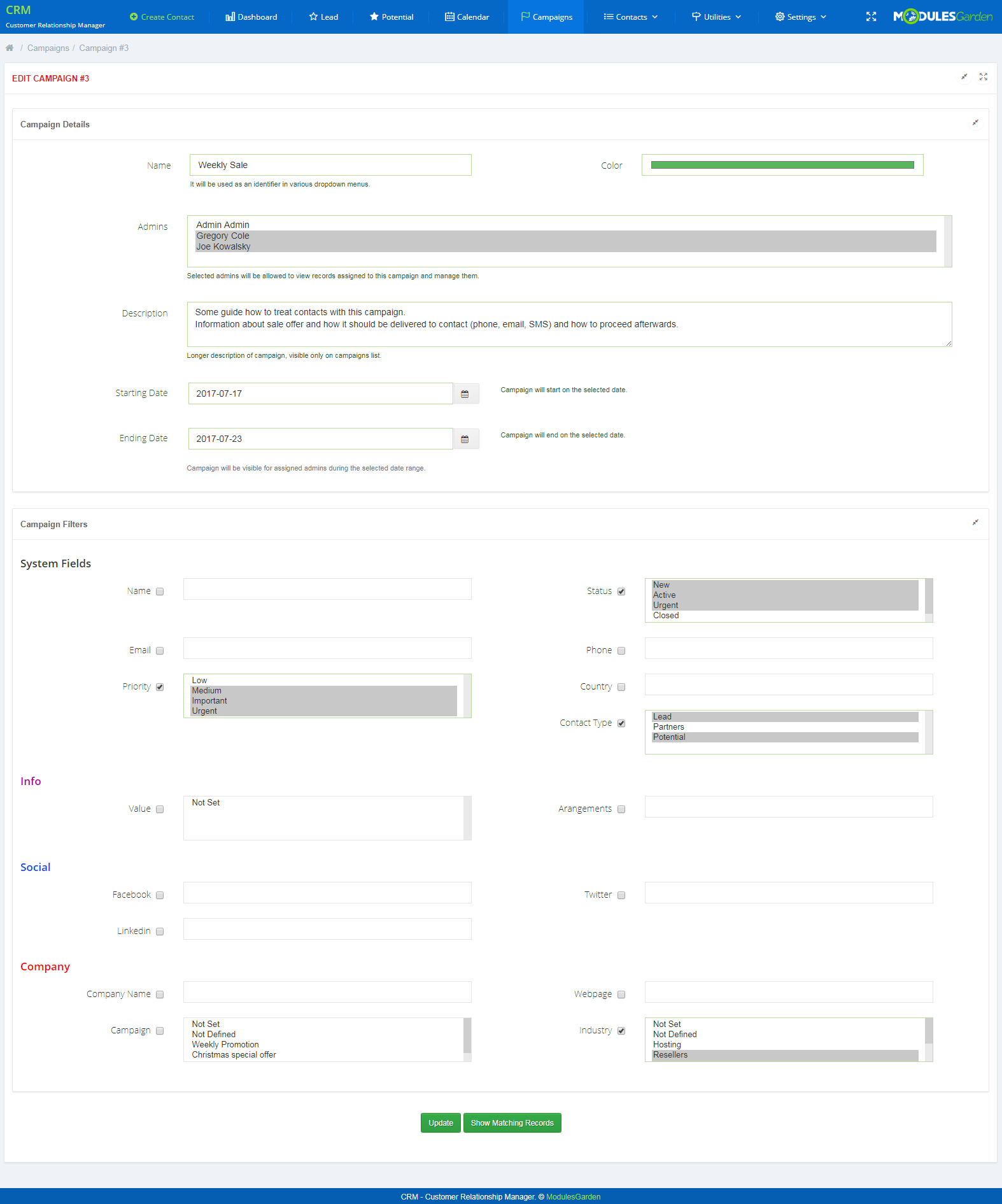 CRM For WHMCS: Screen 9
