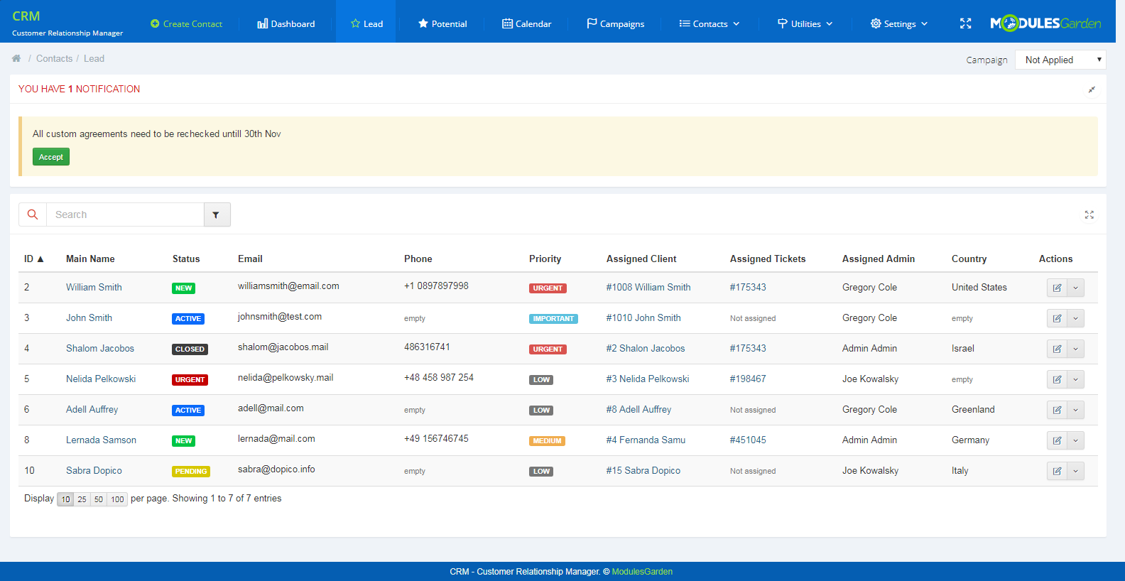 CRM For WHMCS: Screen 2