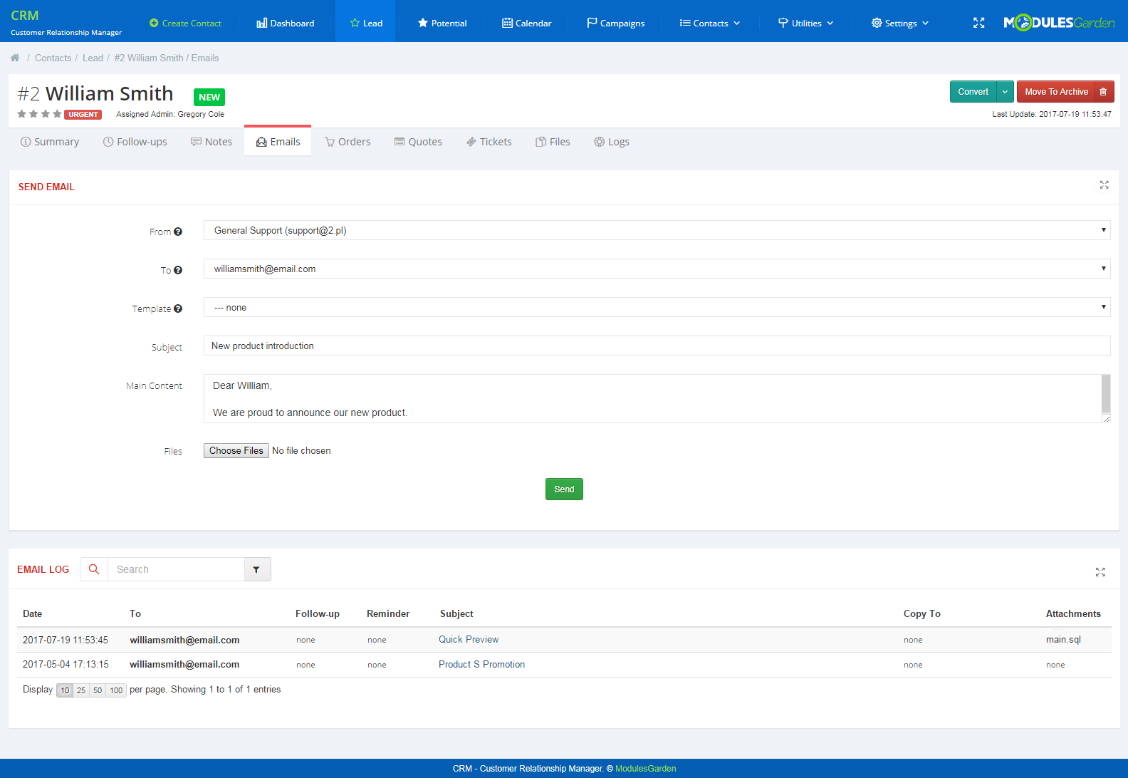 CRM For WHMCS: Screen 5