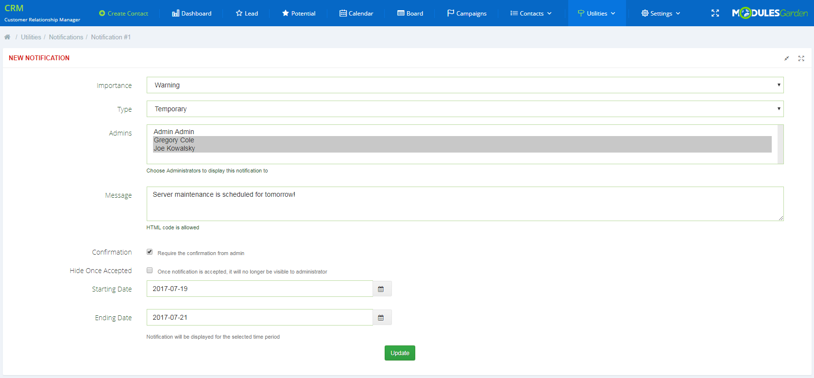 CRM For WHMCS: Screen 12