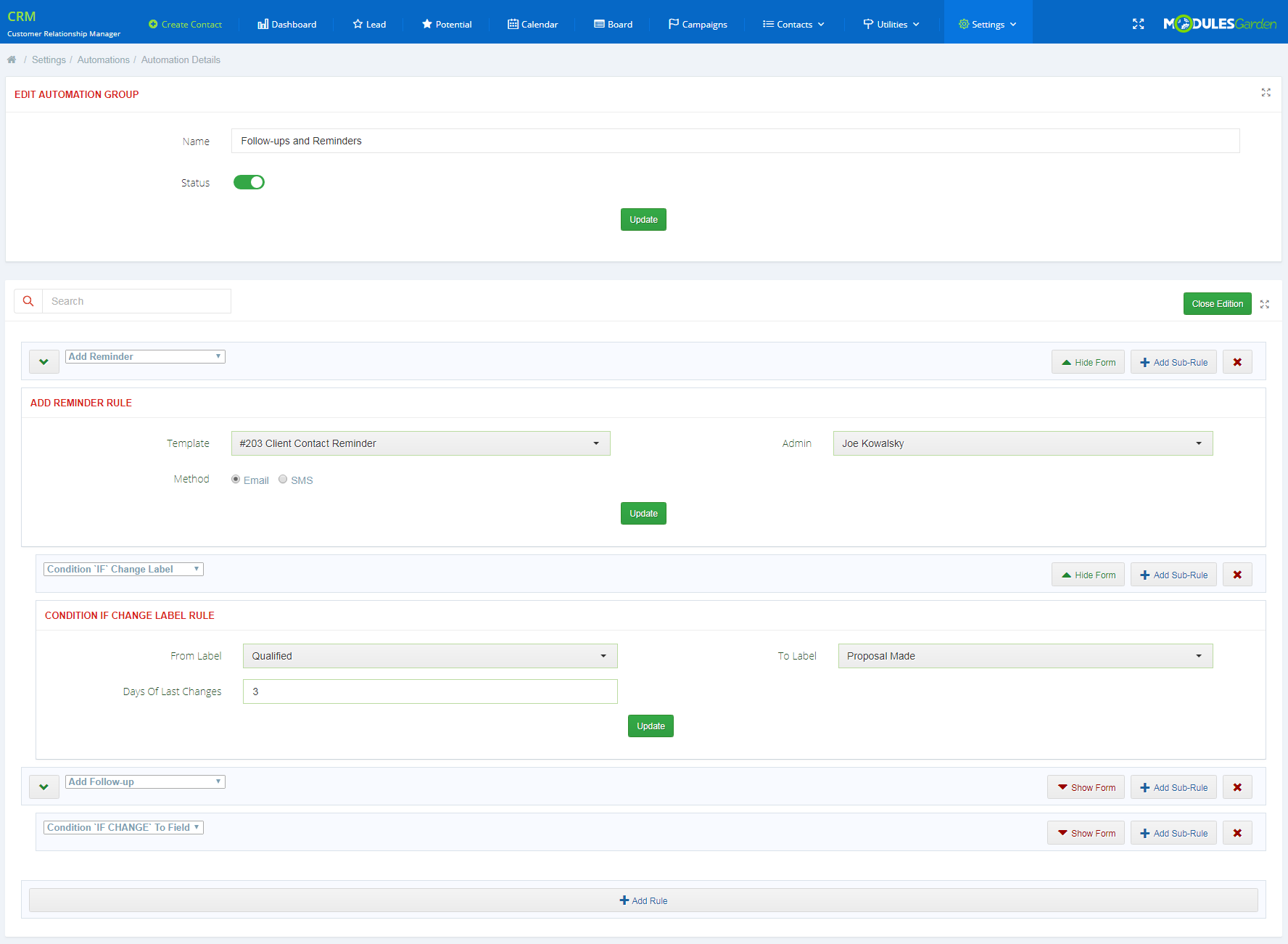 CRM For WHMCS: Screen 29