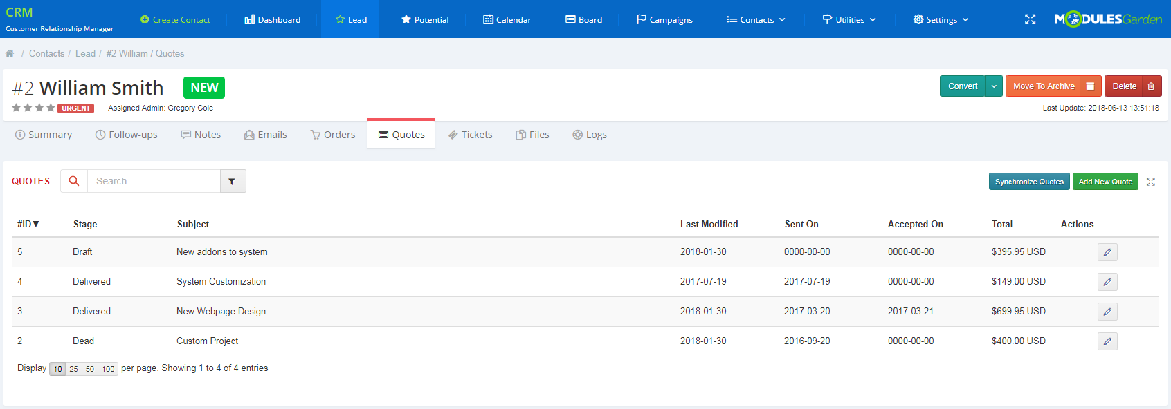CRM For WHMCS: Screen 6