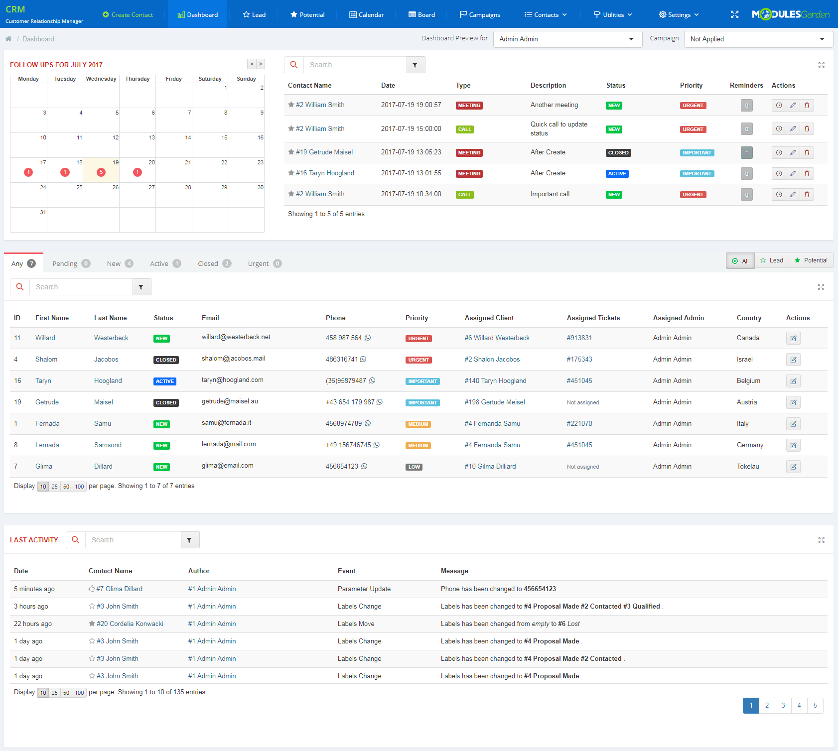 CRM For WHMCS: Module Screenshot 1