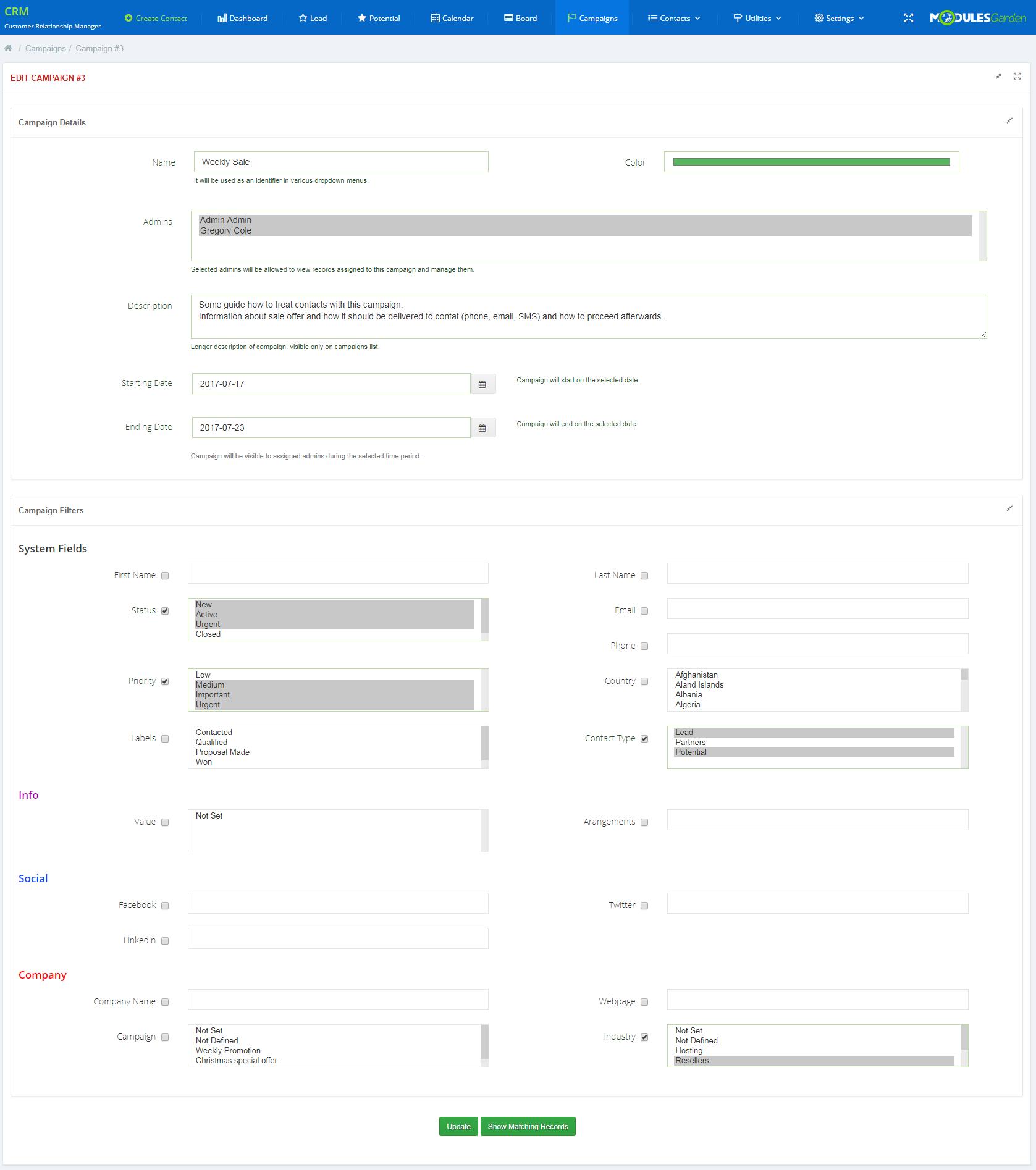 CRM For WHMCS: Module Screenshot 10