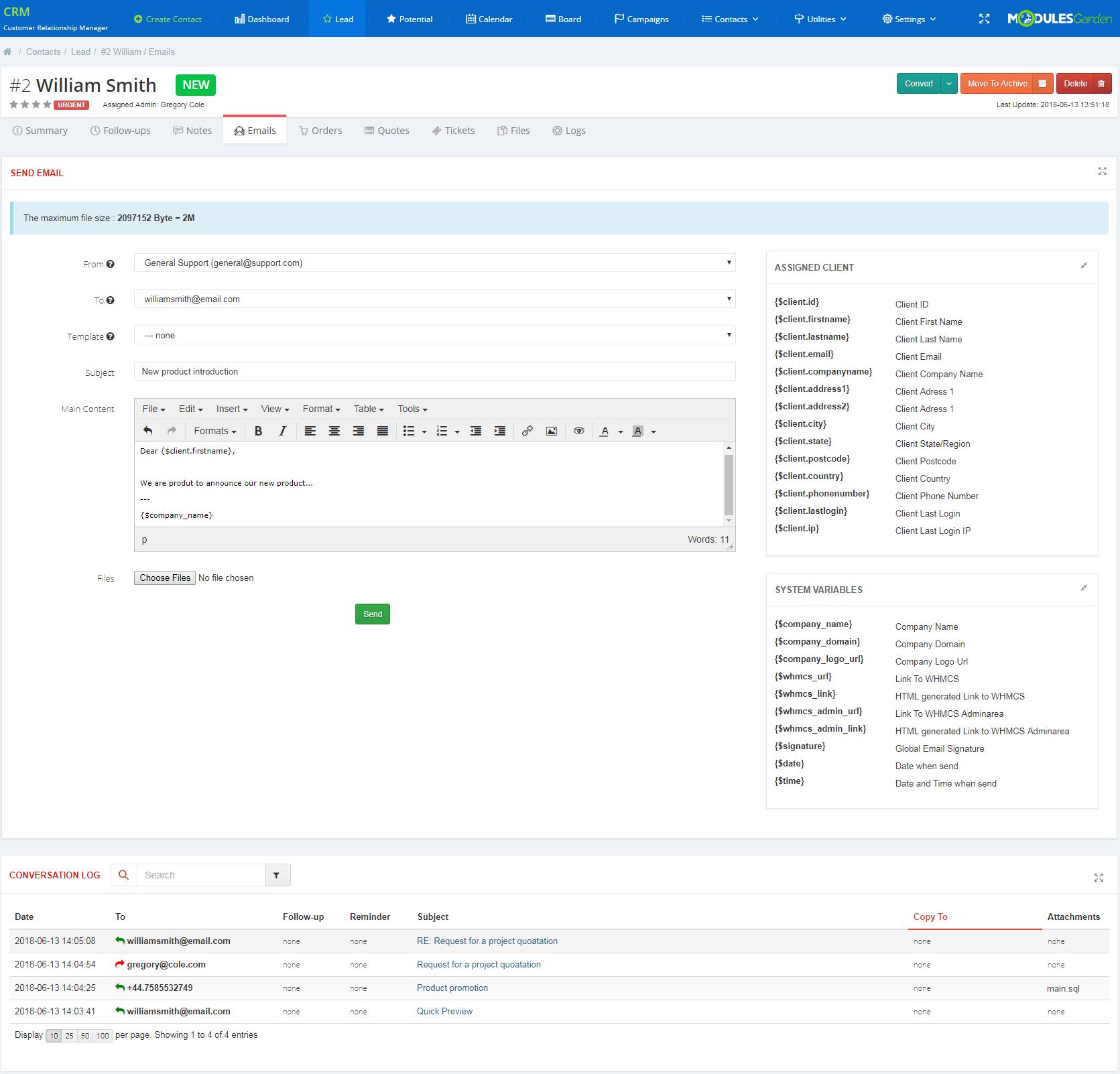 CRM For WHMCS: Module Screenshot 5