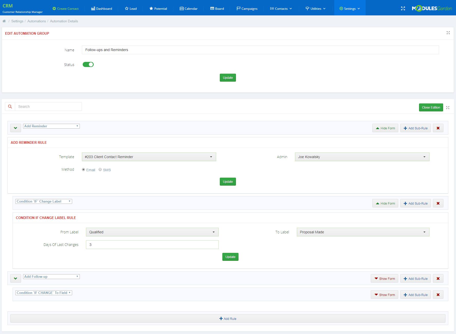 CRM For WHMCS: Module Screenshot 29