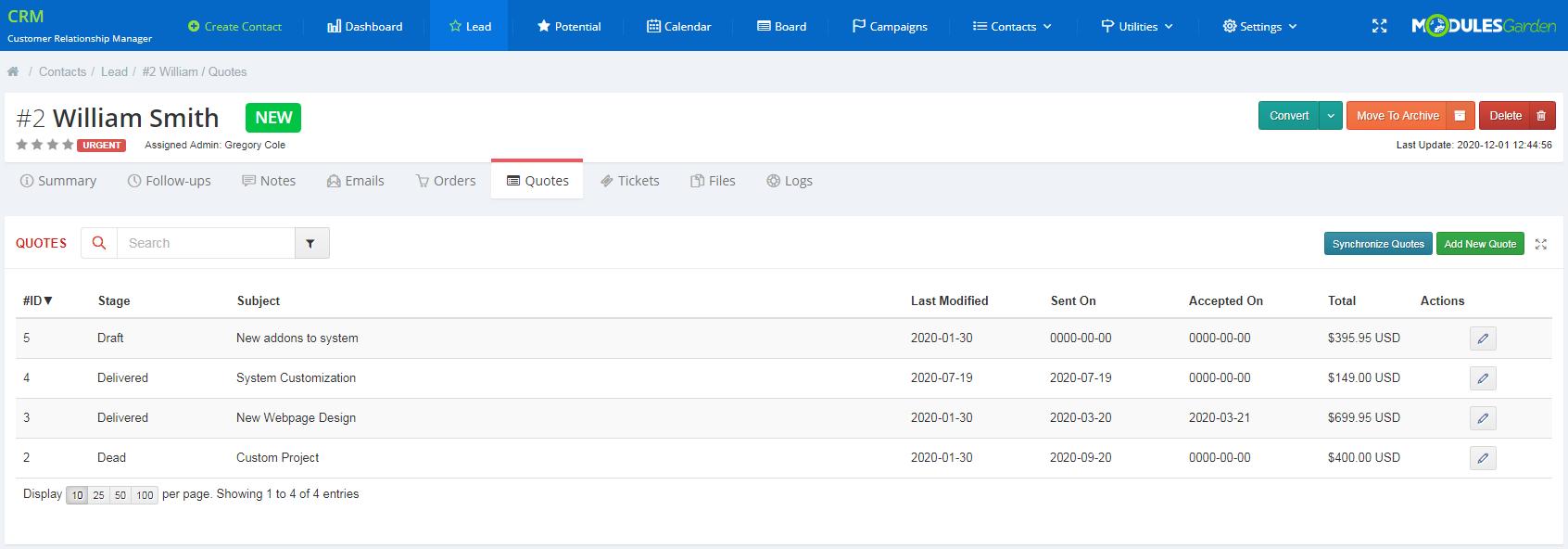 CRM For WHMCS: Module Screenshot 6