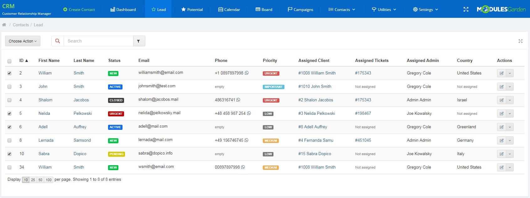 CRM For WHMCS: Module Screenshot 2