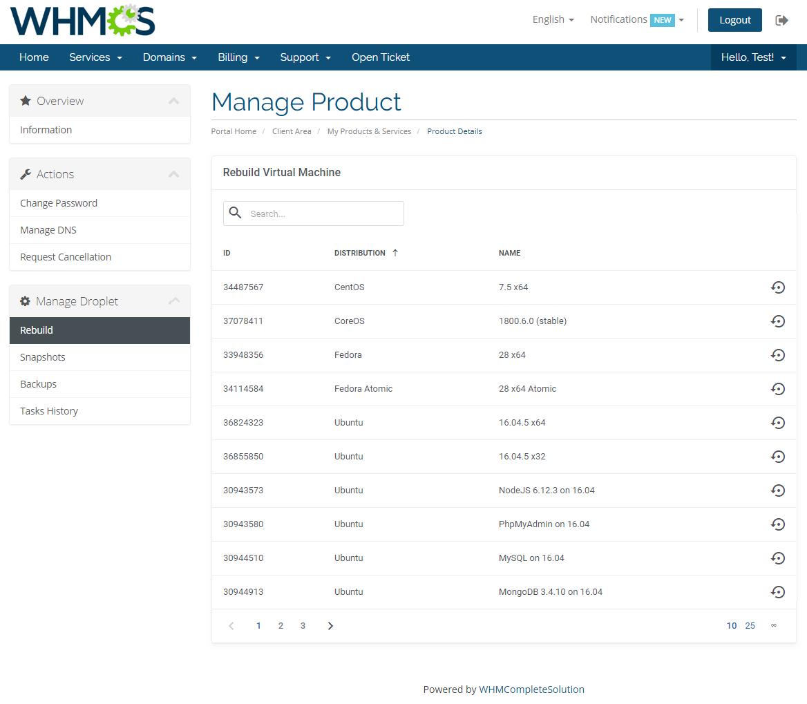 DigitalOcean Droplets For WHMCS: Screen 2