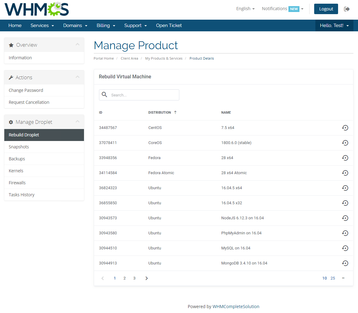 DigitalOcean Droplets For WHMCS: Module Screenshot 2