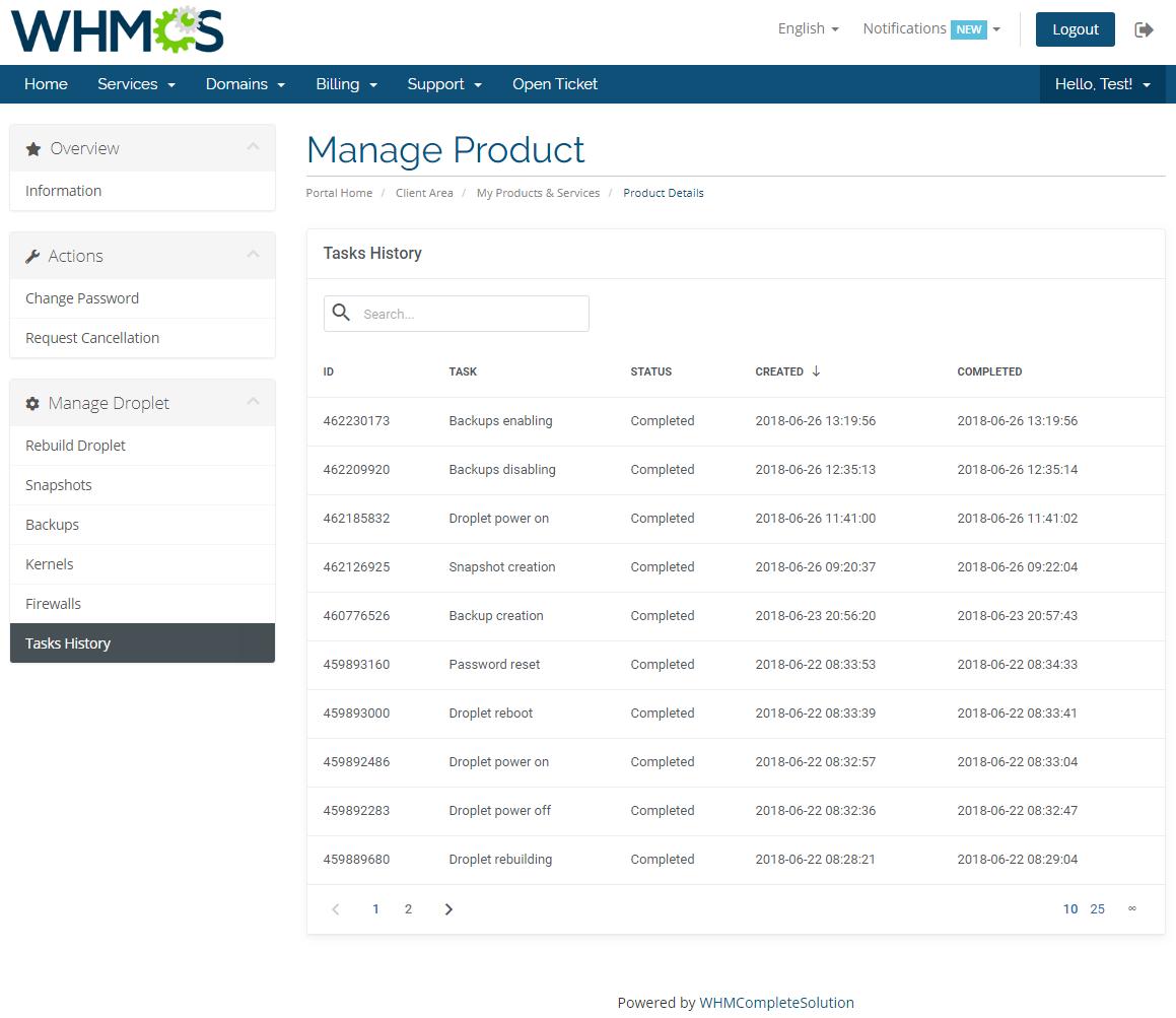 DigitalOcean Droplets For WHMCS: Module Screenshot 9