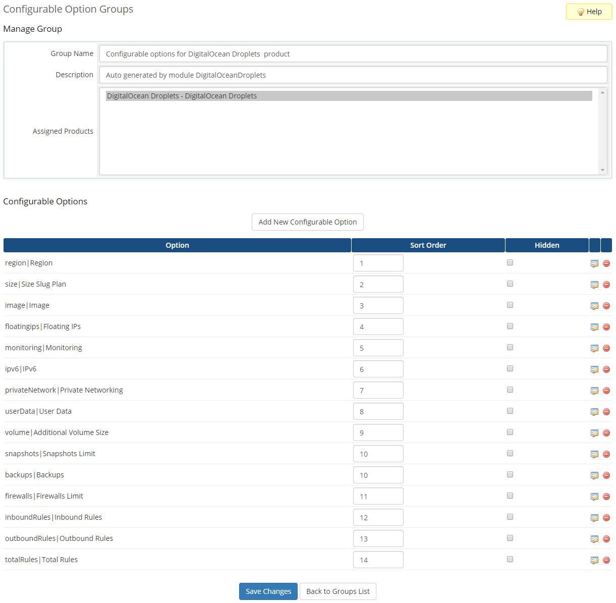 DigitalOcean Droplets For WHMCS: Module Screenshot 15